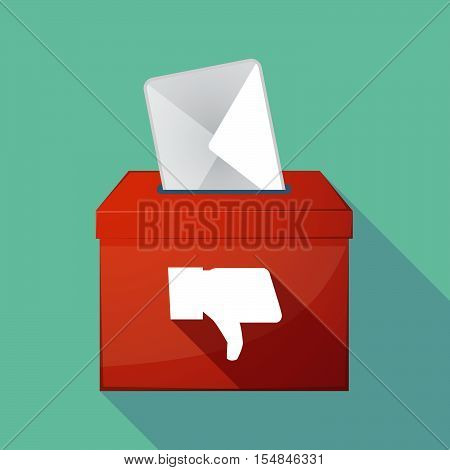 Long Shadow Coloured Ballot Box Icon With A Thumb Down Hand