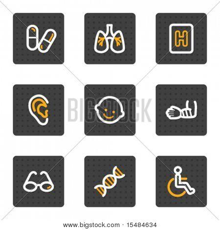 Medicine web icons set 2, grey buttons series