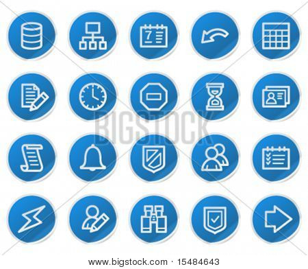 Database web icons, blue sticker series