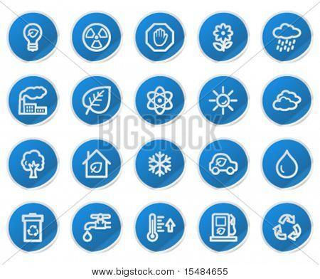 Ecology web icons, blue sticker series