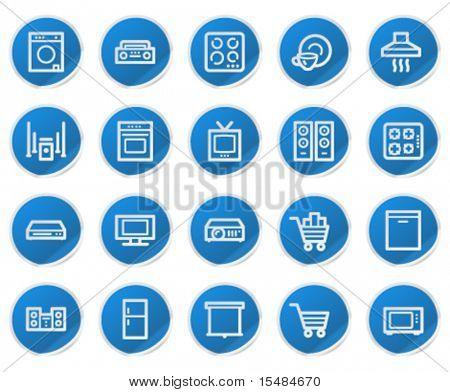 Home appliances web icons, blue sticker series