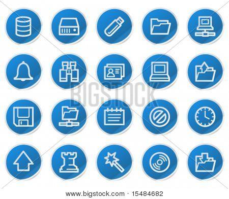 Server web icons, blue sticker series