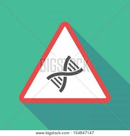 Long Shadow Triangular Warning Sign Icon With A Dna Sign