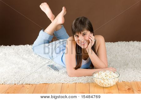 Woman Teenager Watch Television Eat Popcorn