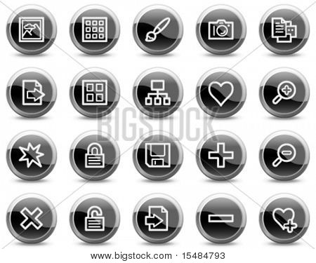 Image library web icons, black glossy circle buttons series