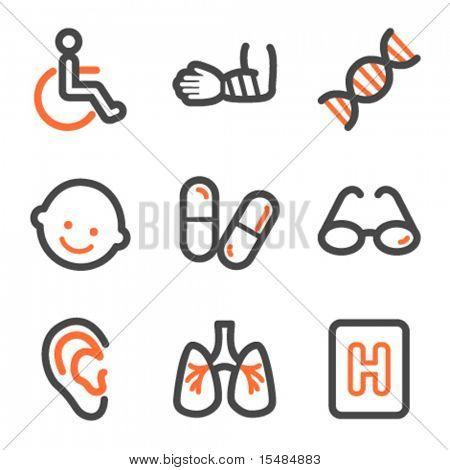 Medicine web icons set 2, orange and gray contour series