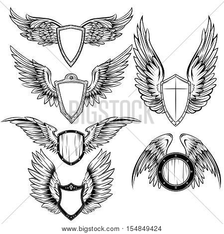 Heraldic elements monochrome set with bird wings and shields of different shape and texture isolated vector illustration