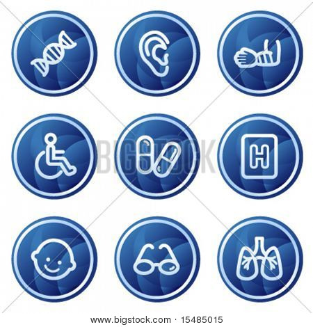 Medicine web icons set 2, blue circle buttons series