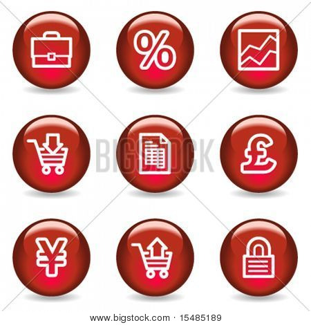 E-business web icons, red glossy series
