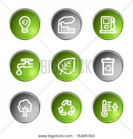 Ecology web icons, green and grey circle buttons series