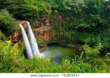Majestic Twin Wailua Waterfalls On Kauai