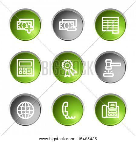 Finance web icons set 2, green and grey circle buttons series
