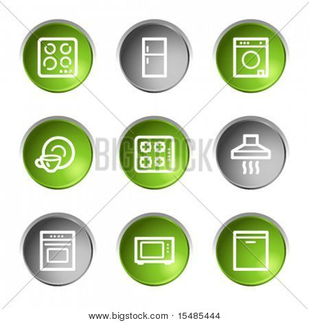 Home appliances web icons, green and grey circle buttons series