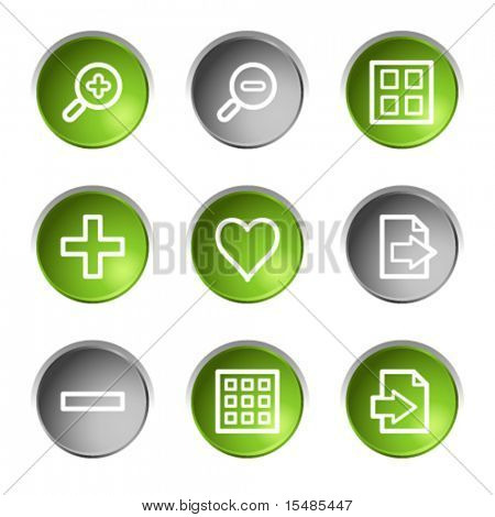 Image viewer web icons, green and grey circle buttons series