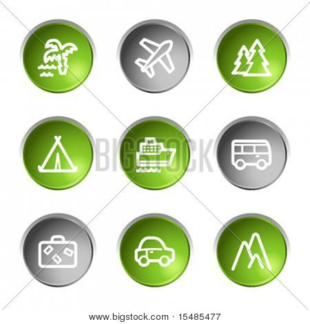 Travel web icons, green and grey circle buttons series