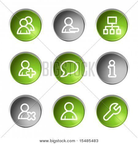Users web icons, green and grey circle buttons series