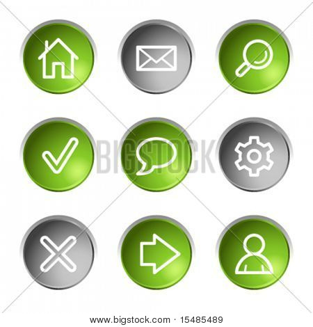 Basicweb icons, green and grey circle buttons series