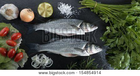 Sea Bass On A Black Background