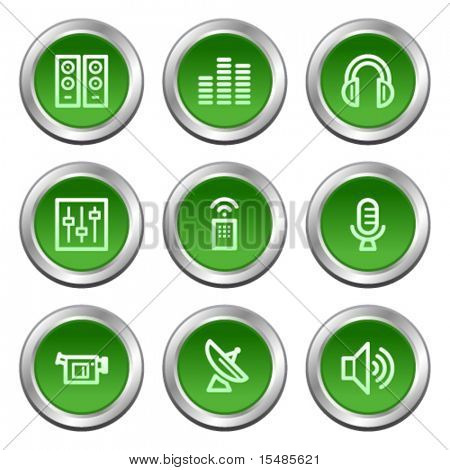 Media web icons, green circle buttons series