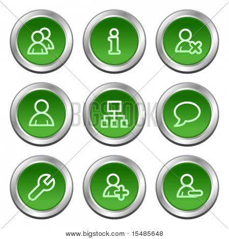 Users web icons, green circle buttons series
