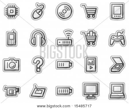 Electronics web icons, grey sticker series