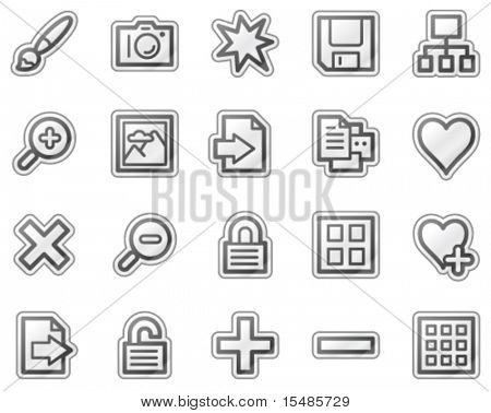 Image library web icons, grey sticker series