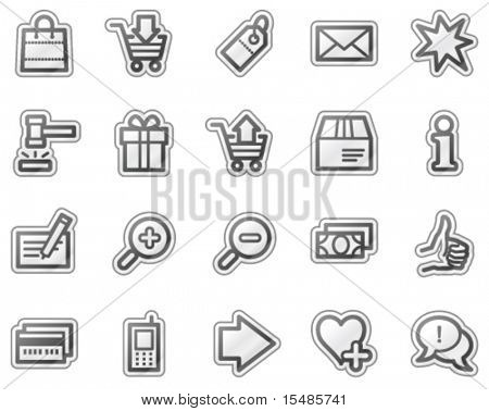 Shopping web icons, grey sticker series