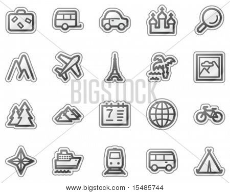 Travel web icons, grey sticker series