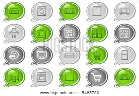 Home appliances web icons, green and grey speech bubble series