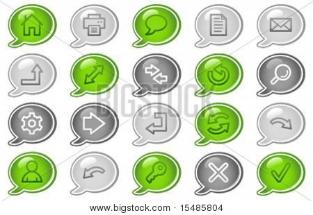 Basic web icons, green and grey speech bubble series