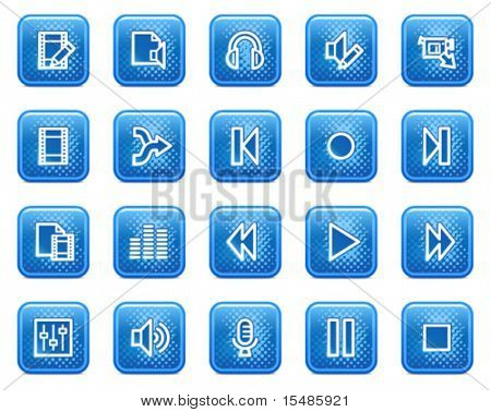 Audio video editar web iconos, botones cuadrados azules con puntos