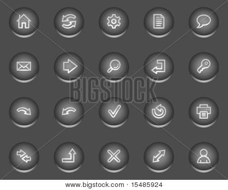 Basic web icons, metal circle buttons series