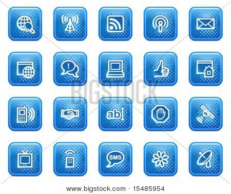 Internet web icons, blue square buttons with dots