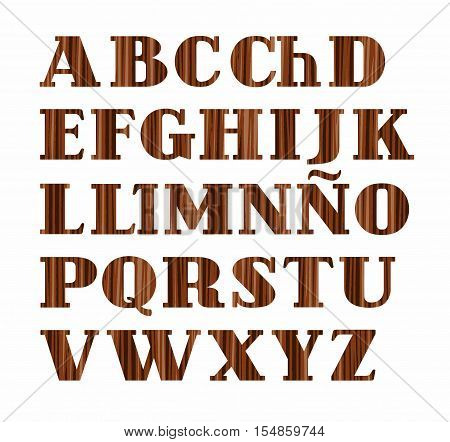 Spanish alphabet, capital letter, wood texture, imitation, vector. Vector font, on a white background. Brown letters, imitation wood texture.