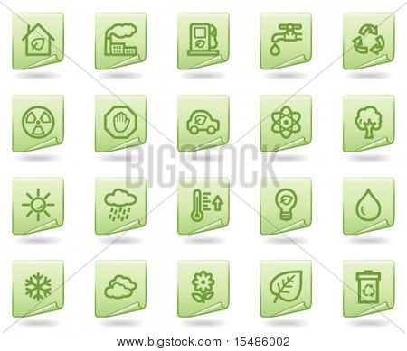 Ecology web icons, green document series