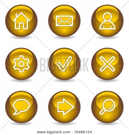 Basic web icons, gold glossy series