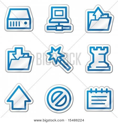 Data web icons, blue contour sticker series
