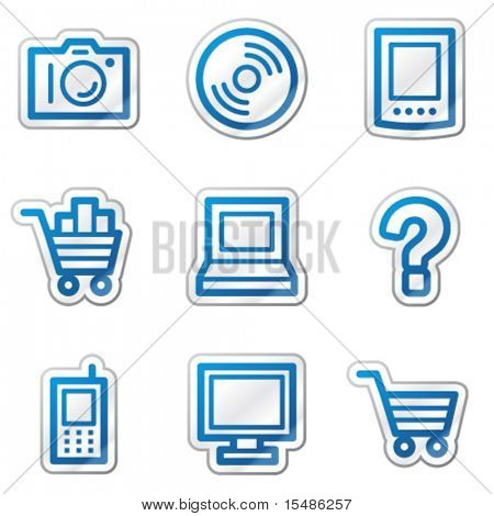 Electronics web icons, blue contour sticker series