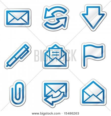 E-mail web icons, blue contour sticker series