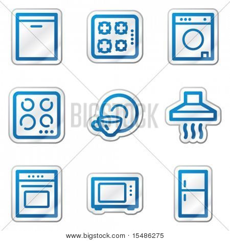 Home appliances web icons, blue contour sticker series