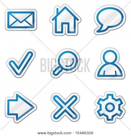 Base web ícones, azul adesivo contorno série