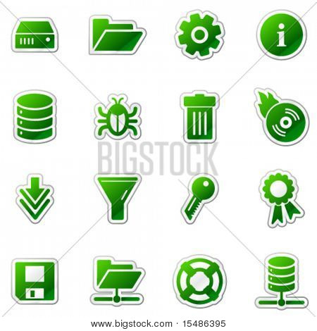 Server web icons, green sticker series