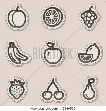 Fruits web icons, brown contour sticker series