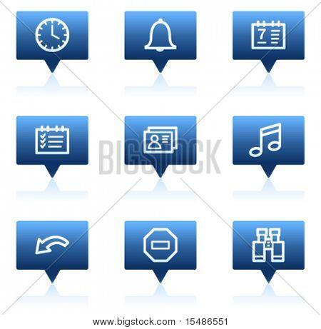 Organizer web icons, blue speech bubbles sticker series
