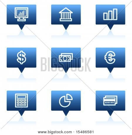 Finance web icons set 1, blue speech bubbles sticker series