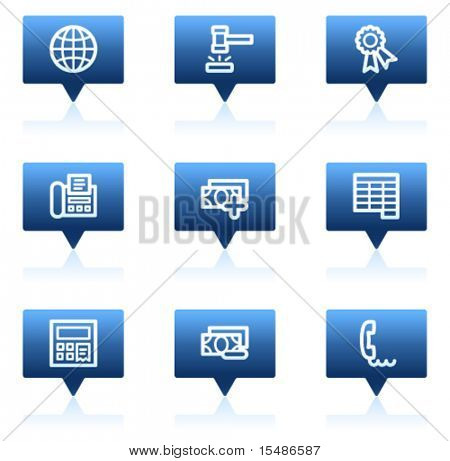 Finance web icons set 2, blue speech bubbles sticker series