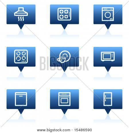 Home appliances web icons, blue speech bubbles sticker series