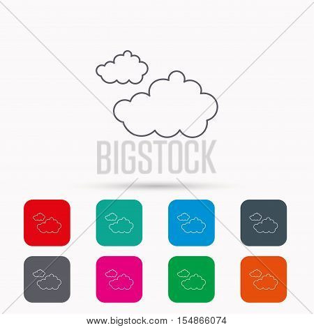 Cloudy icon. Overcast weather sign. Meteorology symbol. Linear icons in squares on white background. Flat web symbols. Vector