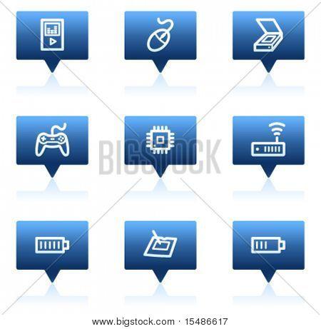 Electronics web icons set 2, blue speech bubbles sticker series