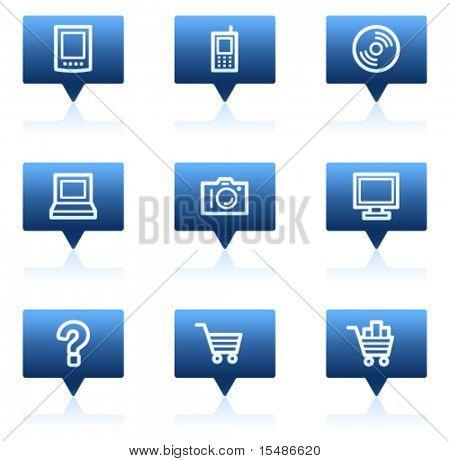 Electronics web icons set 1, blue speech bubbles sticker series